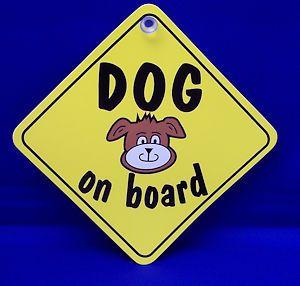 Dog On Board Diamond Window Sucker Sign